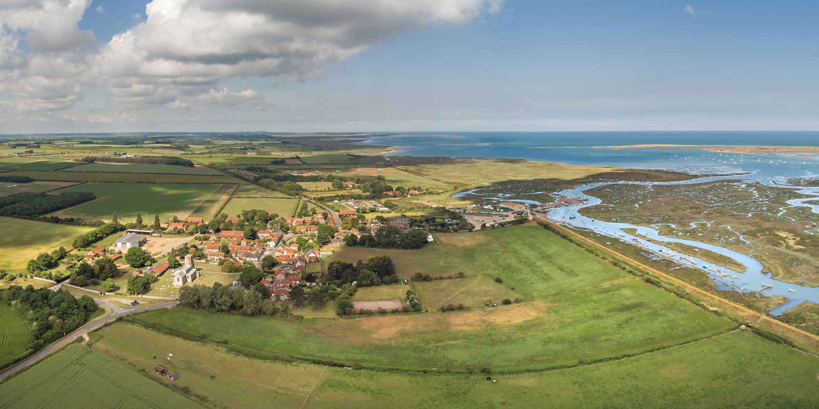 Aerial shot of Church Cottage at Morston – 01