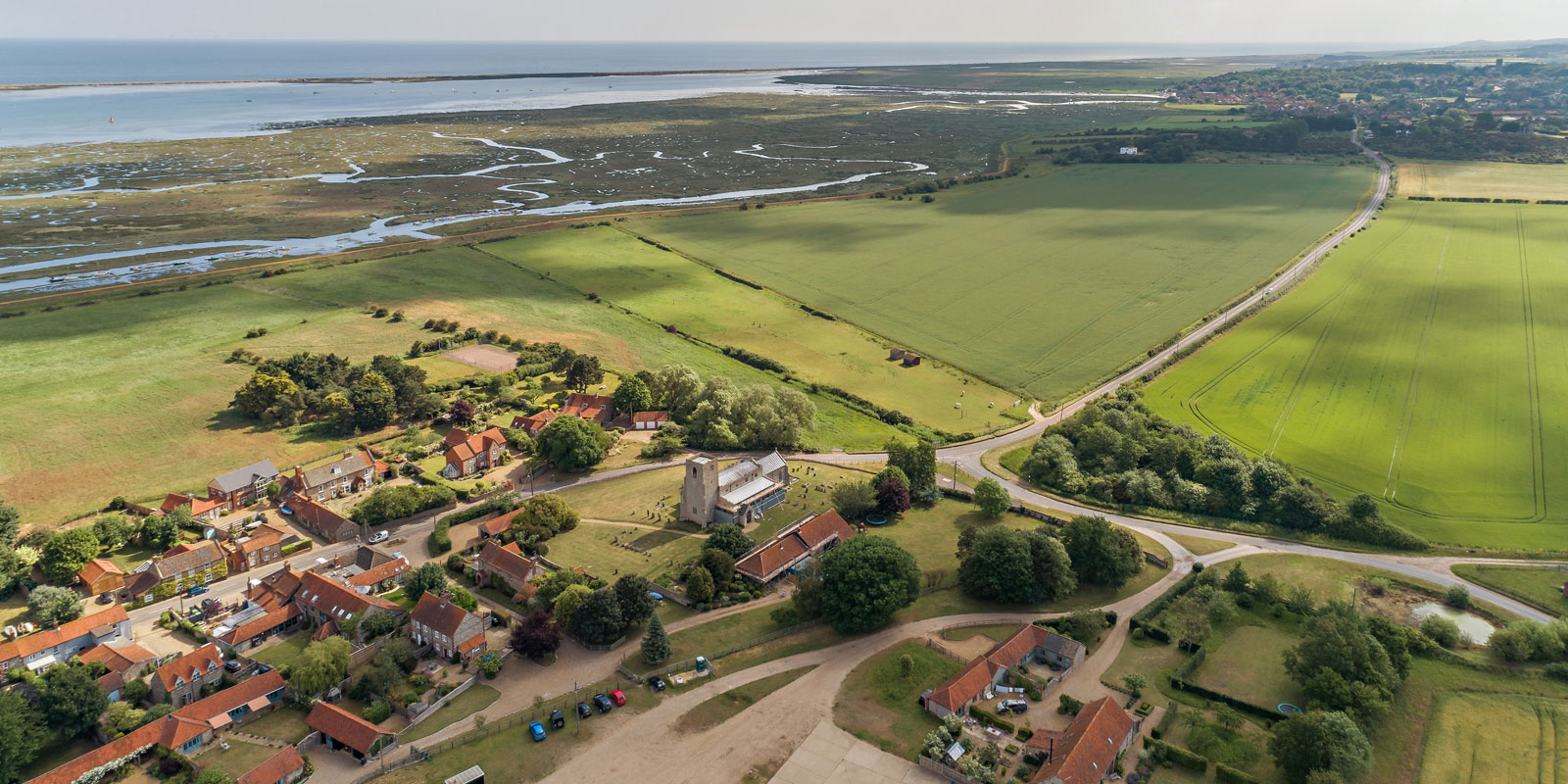 Aerial shot of Church Cottage at Morston – 02