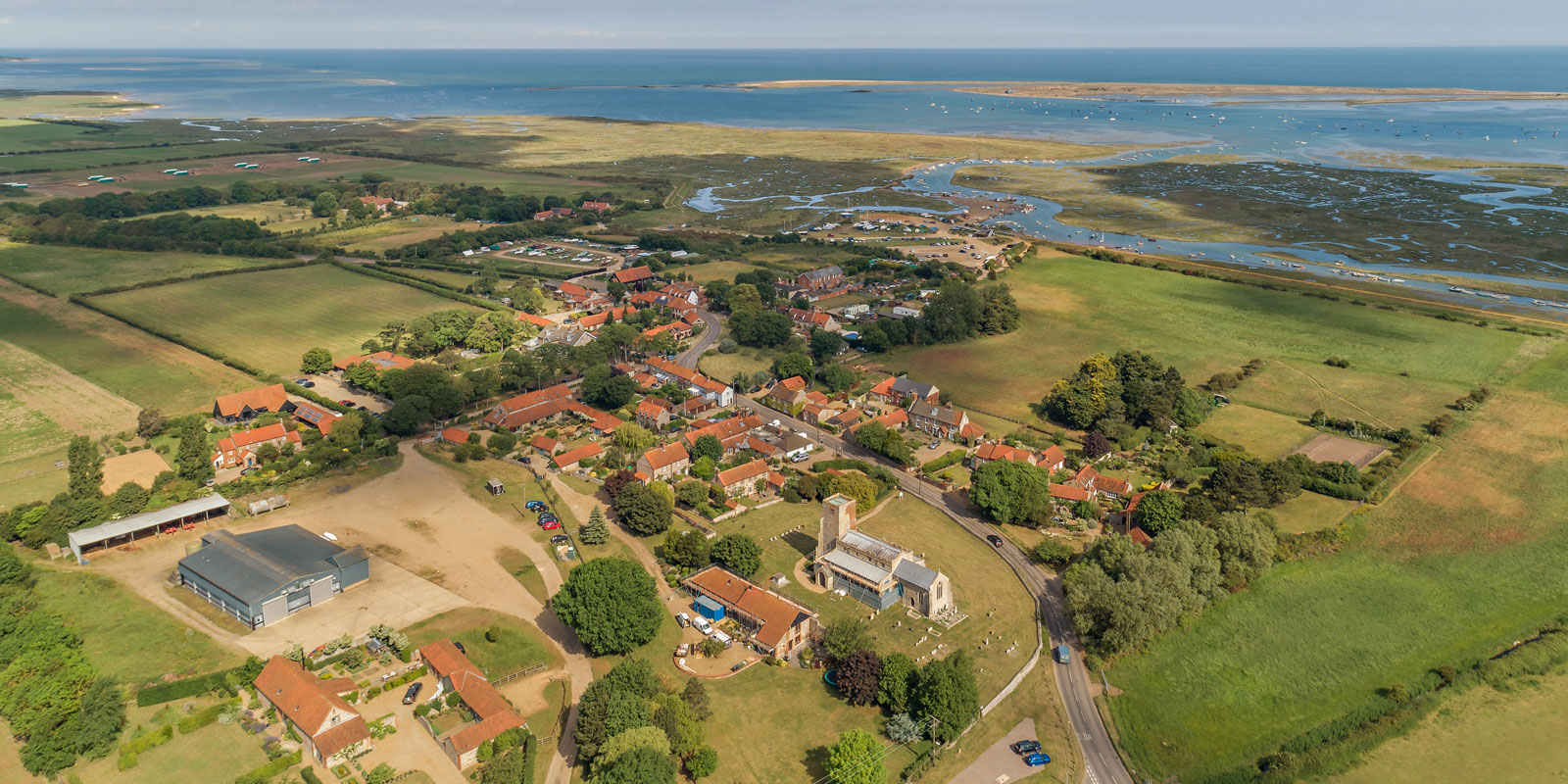 Aerial shot of Church Cottage at Morston – 03